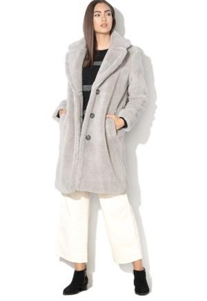 Palton dama gri din blana sintetica