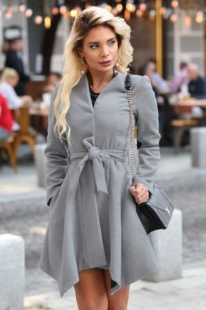 Palton dama gri scurt asimetric cu cordon din stofa