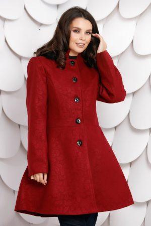 Palton dama marsala scurt in clos