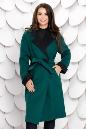 Palton dama petrecut verde cu rever negru