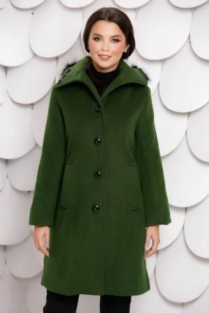 Palton dama verde kaki cu gluga