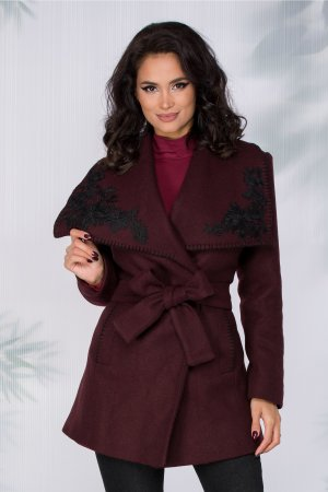 Palton visiniu elegant din lana cu broderie florala