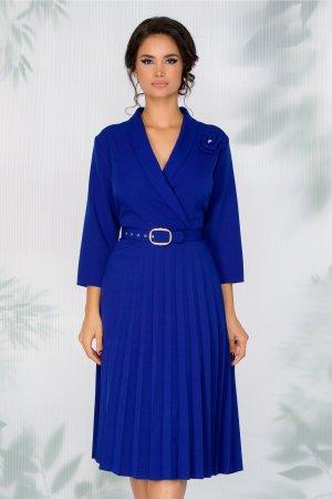 Rochie albastra office cu manecile trei sferturi