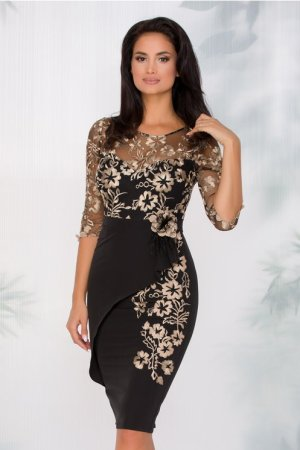 Rochie de ocazie eleganta midi conica neagra cu insertii florale aurii