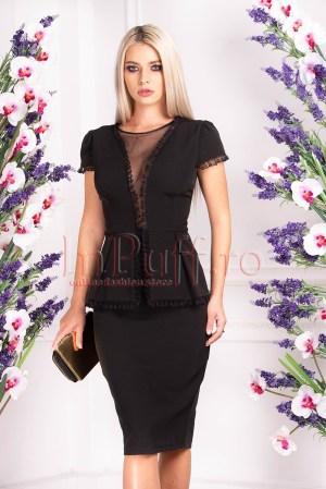 Rochie de ocazie eleganta midi neagra cu peplum in talie si decolteu in V