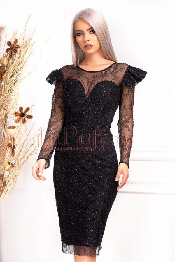 Rochie de ocazie eleganta neagra midi din tulle brodat cu sclipici