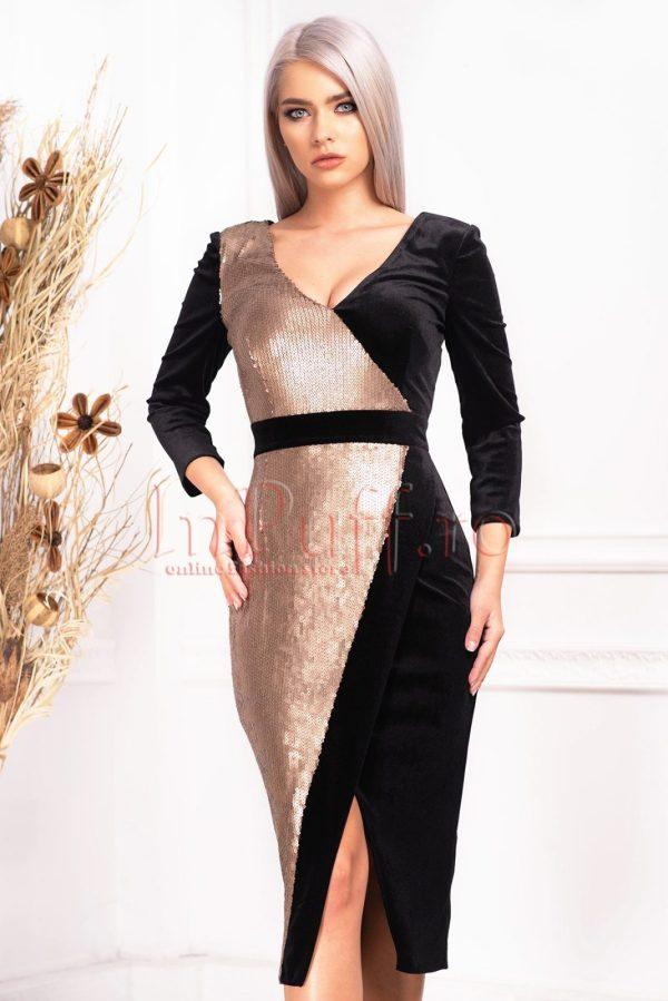 Rochie de ocazie eleganta petrecuta din catifea si paiete cu decolteu in V