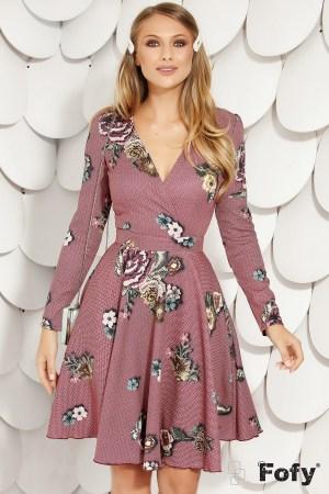Rochie de zi cu imprimeu floral in clos decolteu in V si maneca lunga