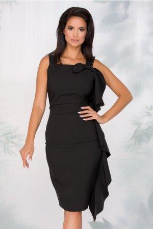 Rochie eleganta conica midi neagra cu funda maxi si decolteu drept