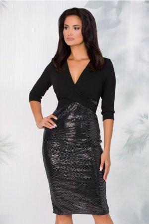 Rochie eleganta conica midi neagra cu paiete si decolteu in V petrecut