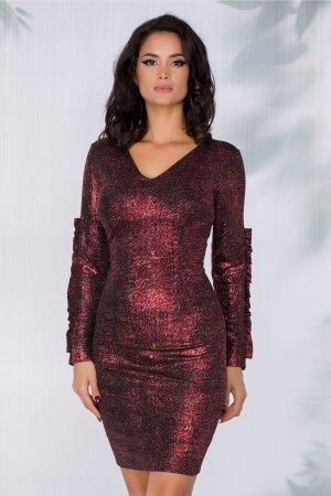 Rochie eleganta de ocazie cu textura din fir lurex si decolteu in v