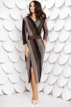 Rochie eleganta midi cu decolteu petrecut in V si maneci lungi