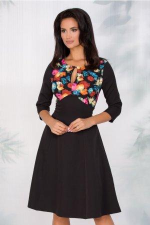 Rochie eleganta midi in clos neagra cu imprimeu floral multicolor