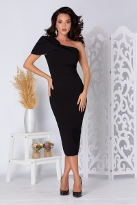 Rochie eleganta midi mulata neagra pe un umar