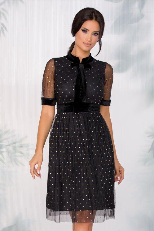 Rochie eleganta neagra din tull plisat cu insertii din catifea si buline
