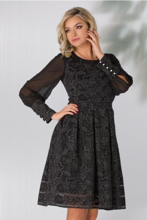 Rochie eleganta neagra midi in clos cu motive florale si maneci din voal