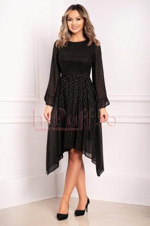 Rochie neagra de seara cu imprimeu auriu