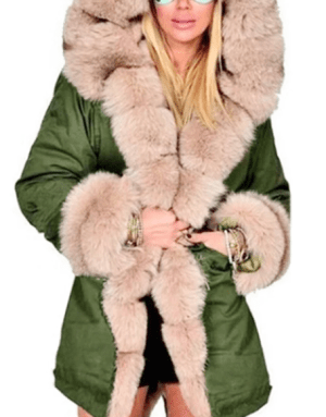 Geaca groasa de iarna stil parka cu gluga si blana artificiala