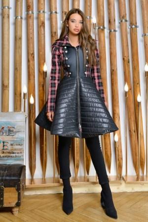 Jacheta dama stil babydoll din carouri si piele ecologica