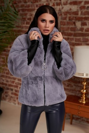 Jacheta gri din blana artificiala