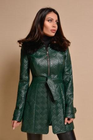 Jacheta verde piele ecologica cu guler de blana