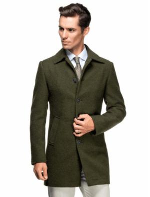 Palton barbatesc kaki din lana