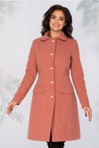 Palton dama elegant roz inchis cu nasturi perlati