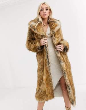 Palton dama lung maro din blana ecologica Asos
