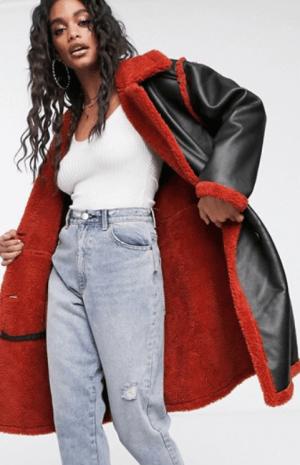 Palton dama negru din piele ecologica si captuseala plusata Asos