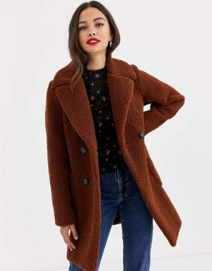 Palton dama scurt maro din blanita teddy Asos