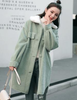 Palton dama verde menta din material plusat