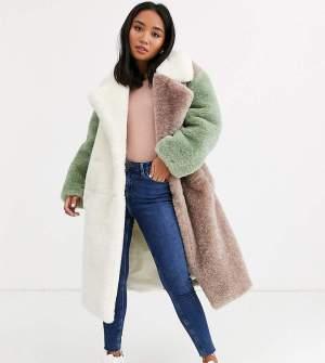 Palton din blana oversized in culori pastel Asos