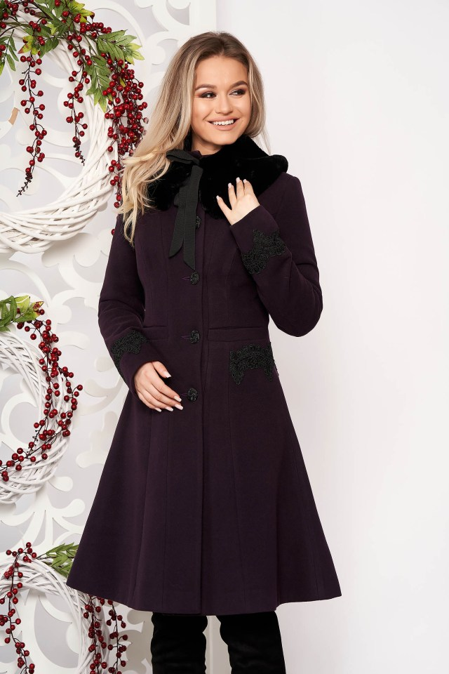Palton mov best impulse elegant din lana cu insertii de broderie captusit
