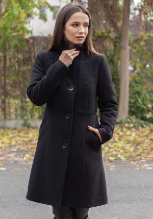 Palton negru cu blanita usor cambrat