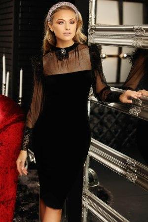 Rochie de ocazie eleganta neagra midi din catifea cu maneci lungi