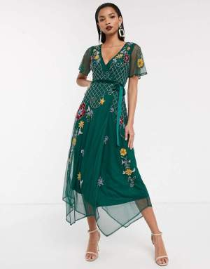 Rochie de ocazie lunga asimetrica verde cu broderie si decolteu in v Asos