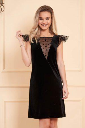 Rochie de ocazie neagra cu croi larg midi din catifea cu aplicatii de tul