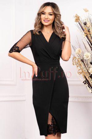 Rochie de ocazie neagra din stofa cu decolteu in V petrecut