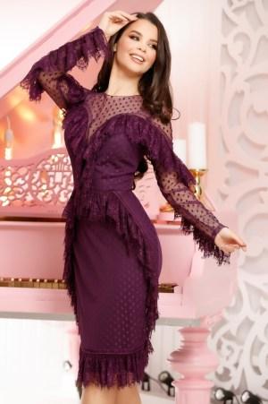 Rochie de zi eleganta mov din dantela