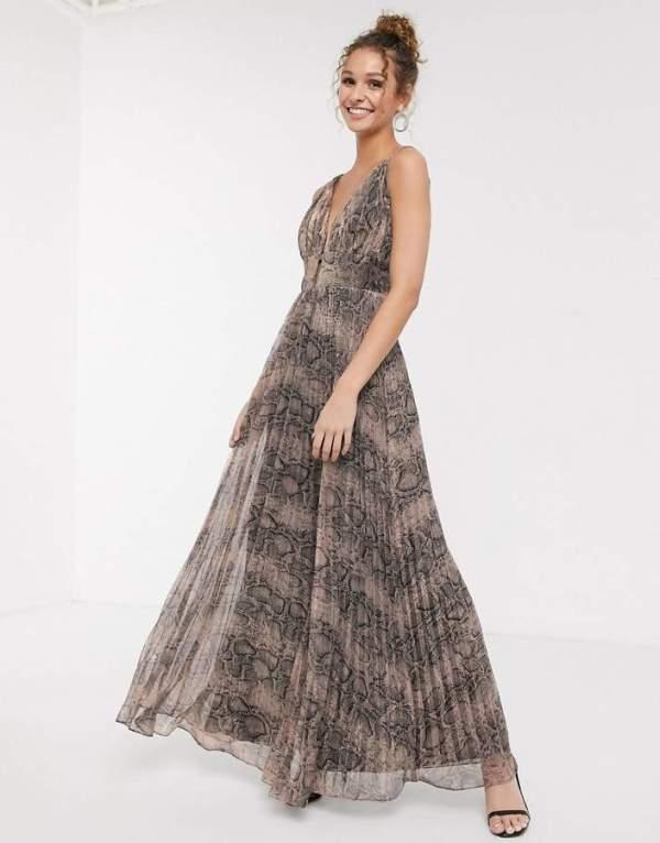 Rochie eleganta lunga din material fluid cu imprimeu Asos