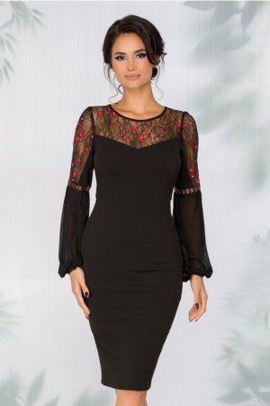 Rochie eleganta neagra cu dantela broderie florala si maneci lungi