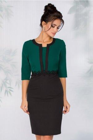 Rochie eleganta neagra midi cambrata cu bustul verde si broderie in talie