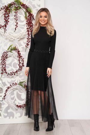 Rochie eleganta neagra scurta tip creion din material tricotat