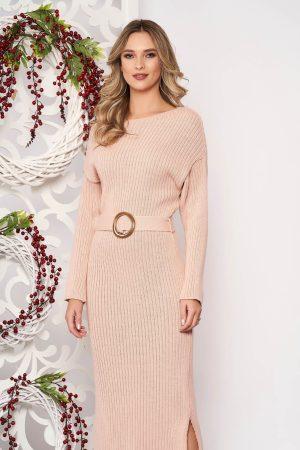 Rochie eleganta roz prafuit din material tricotat cu maneci lungi