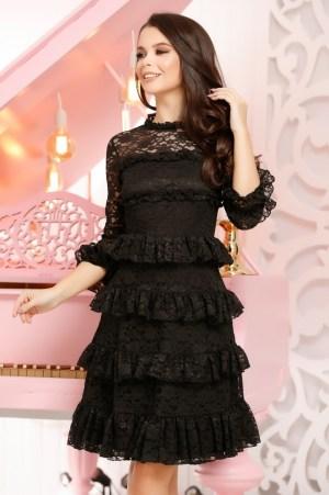 Rochie neagra scurta eleganta din dantela
