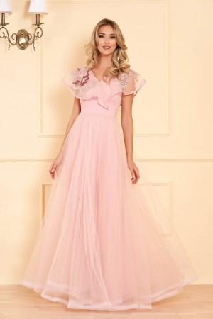 Rochie roz deschis lunga de ocazie din tul cu decolteu in v