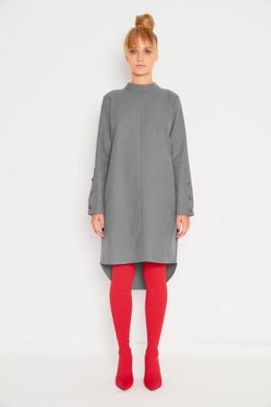 Rochie gri din lana cu casmir Framboise