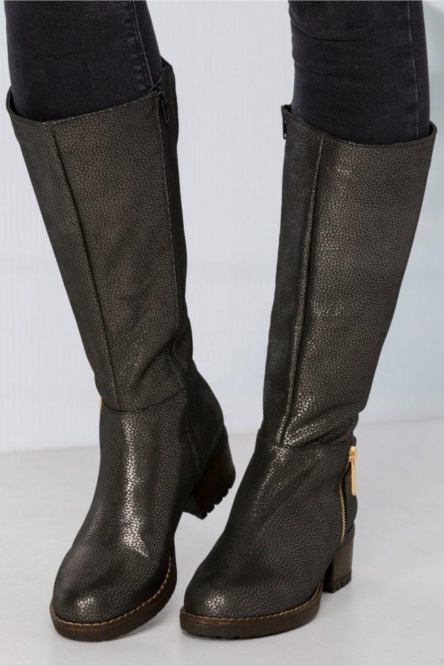 Cizme negre lungi cu imprimeu lucios