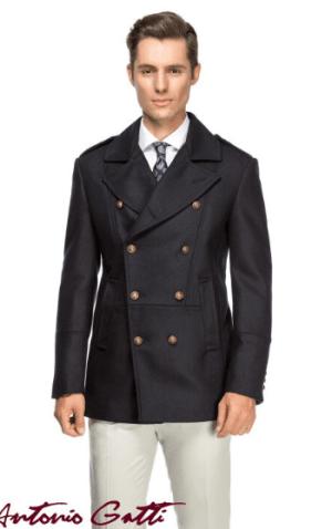 Palton barbatesc cambrat cu slit pe spate inchidere cu doua randuri