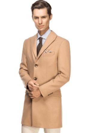 Palton barbatesc lung elegant din lana si casmir